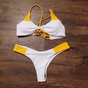 Zaful Bikini Yellow & White M
